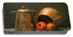 Portable Battery Charger featuring the photograph Two Copper Pots Pomegranate And An Apple by Frank Wilson