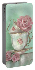 Two Cup Rose Painting Portable Battery Charger