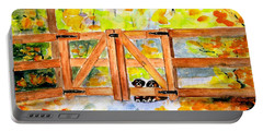 Portable Battery Charger featuring the painting Two Cute Dogs Waiting by Carlin Blahnik CarlinArtWatercolor