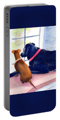 Portable Battery Charger featuring the painting Two Dogs Looking Out A Window by Carlin Blahnik CarlinArtWatercolor