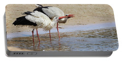 Two Drinking White Storks Portable Battery Charger