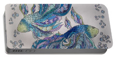 Portable Battery Charger featuring the drawing Two Fish Tangled 2 by Megan Walsh