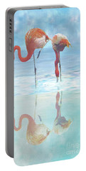 Two Flamingos Searching For Food Portable Battery Charger