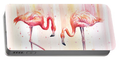 Two Flamingos Watercolor Portable Battery Charger