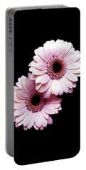 Two Gerberas On Black Portable Battery Charger