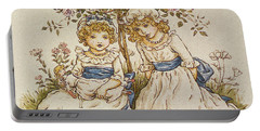 Two Girls With Dolls Sitting Under A Rose Bush, 19th Century Portable Battery Charger