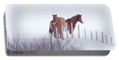 Two Horses In The Snow Portable Battery Charger