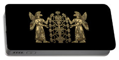 Two Instances Of Gold God Ninurta With Tree Of Life Over Black Canvas Portable Battery Charger
