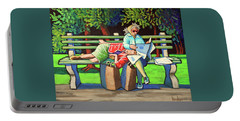 Two Ladies On Bench Portable Battery Charger