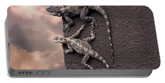 Two Lizards On The Edge Of The Roof Portable Battery Charger