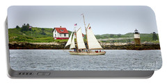 Portable Battery Charger featuring the photograph Two Masted Schooner And Ram Island Light, East Boothbay, Me #40200 by John Bald