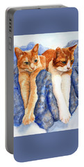 Portable Battery Charger featuring the painting Two Orange Tabby Cats by Carlin Blahnik CarlinArtWatercolor