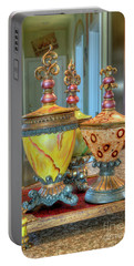 Two Ornate Colorful Vases Or Urns Art Prints Portable Battery Charger