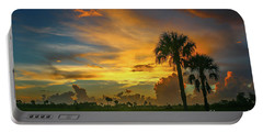 Two Palm Silhouette Sunrise Portable Battery Charger