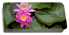 Two Pink Lilies Portable Battery Charger