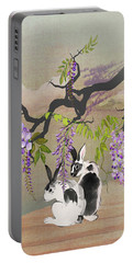 Two Rabbits Under Wisteria Tree Portable Battery Charger