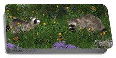 Two Raccoons  With Butterflys Portable Battery Charger by Walter Colvin