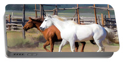 Two Ranch Horses Galloping Into The Corrals Portable Battery Charger