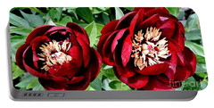Two Red Peonies Portable Battery Charger