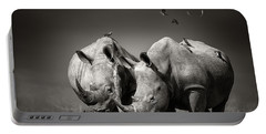 Two Rhinoceros With Birds In Bw Portable Battery Charger