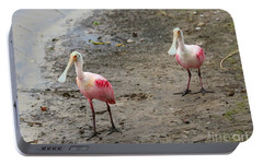 Two Roseate Spoonbills 2 Portable Battery Charger by Carol Groenen