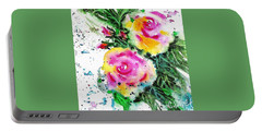 Two Roses And Their Buds Portable Battery Charger