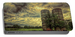 Portable Battery Charger featuring the photograph Two Silos by Lewis Mann