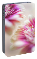 Portable Battery Charger featuring the photograph Two Souls. Macro Gerbera by Jenny Rainbow