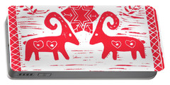 Two Swedish Yule Goats Portable Battery Charger