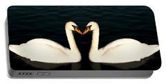 Two Symmetrical White Love Swans Portable Battery Charger