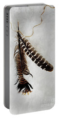 Two Tattered Turkey Feathers Portable Battery Charger by Stephanie Frey