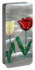 Portable Battery Charger featuring the painting Two Tulips by J R Seymour