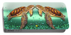 Portable Battery Charger featuring the painting Two Turtles by Debbie Chamberlin