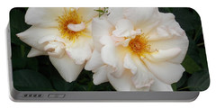Two White Flowers Portable Battery Charger by Catherine Gagne