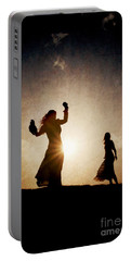 Two Women Dancing At Sunset Portable Battery Charger