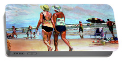 Two Women Walking On The Beach Portable Battery Charger