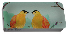 Two Yellow Chickadees Portable Battery Charger