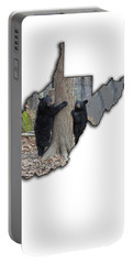 Two Young Black Bear Standing By Tree Portable Battery Charger