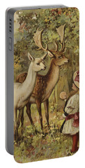 Two Young Children Feeding The Deer In A Park Portable Battery Charger