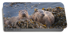 Two Young European Otters Portable Battery Charger