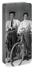 Two Young Ladies With Their Bicycles Circa 1895 Portable Battery Charger