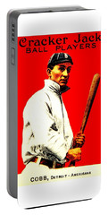 Portable Battery Charger featuring the painting Ty Cobb 1914 Baseball Card by Peter Gumaer Ogden