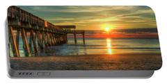 Portable Battery Charger featuring the photograph Tybee Pier Panorama Sunrise Art by Reid Callaway