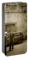 Typical Italian Street Scene In Sepia Portable Battery Charger