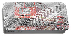 Portable Battery Charger featuring the digital art Typographic Art - London Westminster Bridge Buses by Melanie Viola