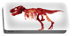 Tyrannosaurus Rex Skeleton Poster, T Rex Watercolor Painting, Red Orange Animal World Art Print Portable Battery Charger