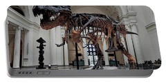 Portable Battery Charger featuring the digital art Tyrannosaurus Rex Sue - Chicago by Daniel Hagerman