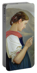Tyrolean Girl Contemplating A Crucifix Portable Battery Charger