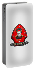 U S M C  2nd Reconnaissance Battalion -  2nd Recon Bn Insignia Over White Leather Portable Battery Charger