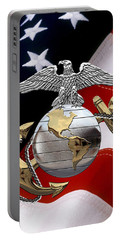 U S M C Eagle Globe And Anchor - C O And Warrant Officer E G A Over U. S. Flag Portable Battery Charger